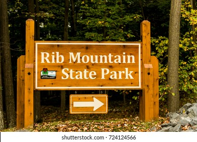 Wausau, WI - 28 September 2017: Rib Mountain State Park sign at the entrance of the park