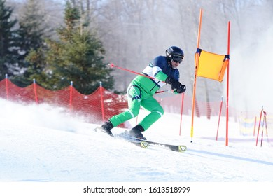 Wausau, Wisconsin / USA - January 11th, 2020: Locals of the city of Wausau and Marathon County, Wisconsin. Came out to ski down on Granite Peak Ski Area for Badger State Winter Games public event.