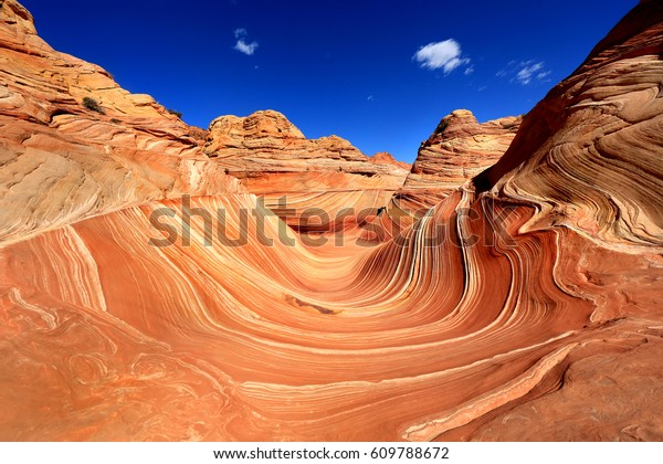 The Wave, Arizona, Canyon Rock Formation. Vermillion Cliffs, Paria Canyon State Park in the United States