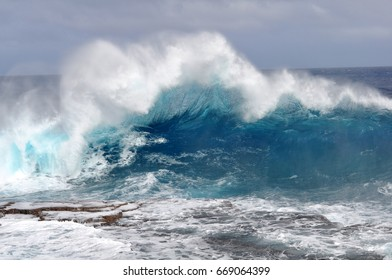 Wave at the blowholes in Tongatapu, Tonga