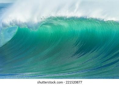 Wave Blue Crashing Detail Ocean wave cresting crashing rolling breaking water closeup hollow detail  of scenic power energy of nature