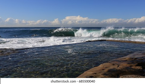Wave breaking at Dee Why Point in Sydney Australia.