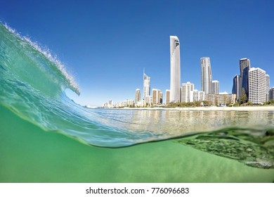 Wave breaks at Surfers Paradise.