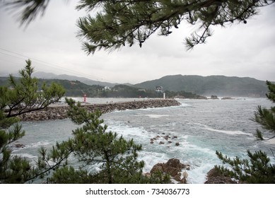 Wave and breakwater  October 3, 2017 in a fishing village in Korea. Two lighthouses and waves were my interest.