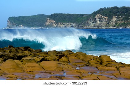 Wave crashes on Australian Beach