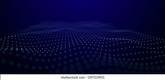 Wave of dots . Abstract background. Network connection structure.