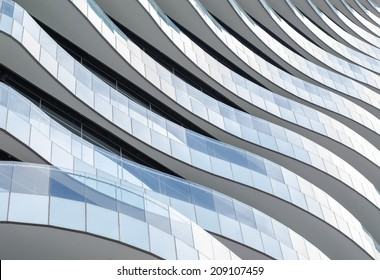 WAVE FACADE DESIGN - JULY 29 : Building facade of The Wave building on JULY 29, 2014 in Bangkok, Thailand. Balconies that flow elegantly like waves around the building