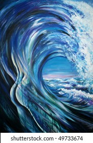 Wave formed as a male body.Picture I have created myself with acrylics.