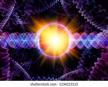 Wave Function series. Abstract arrangement of colored sine vibrations, light and fractal elements as backdrop for projects on sound equalizer, music spectrum and  quantum probability