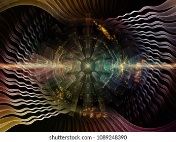 Wave Function series. Abstract composition of colored sine vibrations, light and fractal elements suitable in projects related to sound equalizer, music spectrum and  quantum probability