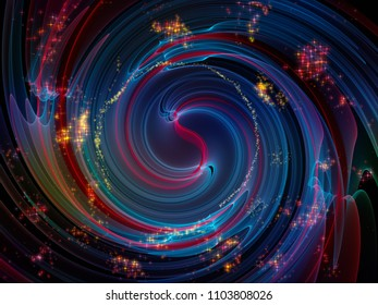 Wave Function series. Arrangement of colored sine vibrations, light and fractal elements on the subject of sound equalizer, music spectrum and  quantum probability