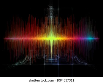 Wave Function series. Artistic background made of colored sine vibrations, light and fractal elements for use with projects on sound equalizer, music spectrum and  quantum probability