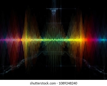 Wave Function series. Backdrop composed of colored sine vibrations, light and fractal elements for use in the projects on sound equalizer, music spectrum and  quantum probability