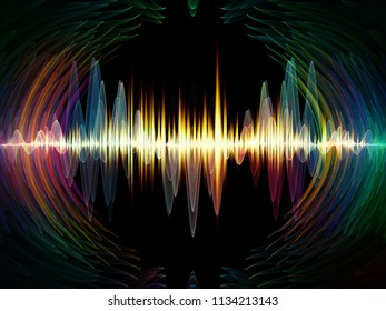 Wave Function series. Backdrop design of colored sine vibrations, light and fractal elements for illustrations on sound equalizer, music spectrum and  quantum probability