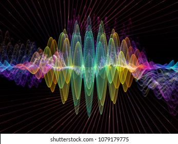 Wave Function series. Background composition of  colored sine vibrations, light and fractal elements on the subject of sound equalizer, music spectrum, quantum probability and science education