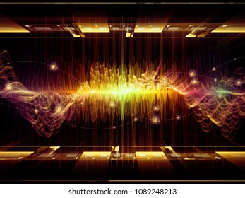 Wave Function series. Background design of colored sine vibrations, light and fractal elements on the subject of sound equalizer, music spectrum and  quantum probability