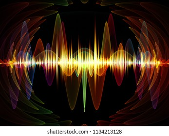 Wave Function series. Composition of  colored sine vibrations, light and fractal elements to serve as backdrop for projects on sound equalizer, music spectrum and  quantum probability
