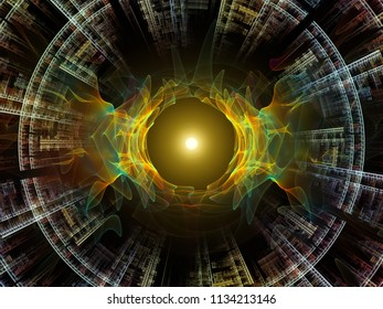 Wave Function series. Creative arrangement of colored sine vibrations, light and fractal elements as a concept metaphor on subject of sound equalizer, music spectrum and  quantum probability