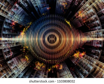 Wave Function series. Visually attractive backdrop made of colored sine vibrations, light and fractal elements suitable in layouts on sound equalizer, music spectrum and  quantum probability