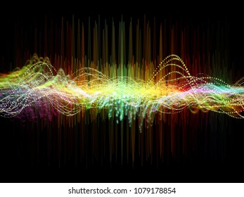 Wave Function series. Visually pleasing composition of colored sine vibrations, light and fractal elements for works on sound equalizer, music spectrum, quantum probability and science education