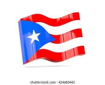 Wave icon with flag of puerto rico. 3D illustration