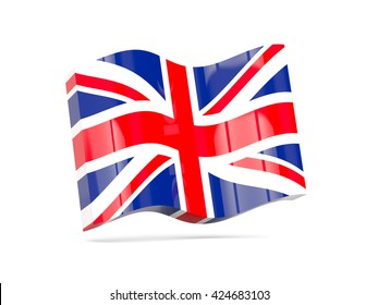 Wave icon with flag of united kingdom. 3D illustration