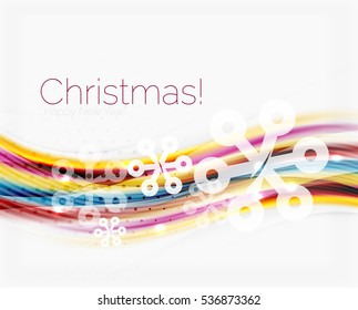 Wave line with snowflakes. Christmas abstract background, business holiday presentation template
