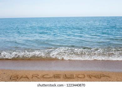 wave on a beach of mediterranean sea in barcelona