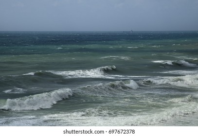 Wave on the sea surface. Seascape in stormy day.