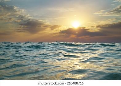 Wave on sunset. Nature composition. Element of design.