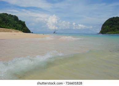 wave on a wild beach