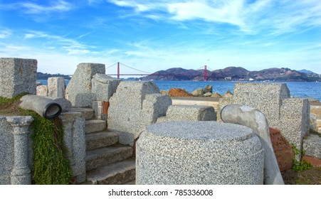 The Wave Organ - a wave-activated acoustic sculpture located on a jetty in the San Francisco Bay with Golden Gate Bridge in the Background.