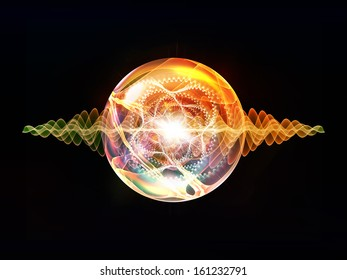 Wave Particle series. Background design of fractal spherical patterns and conceptual elements on the subject of science, technology, spirituality and design