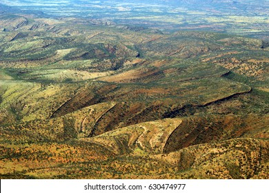 wave rock formation in the outback, Australia, from the air