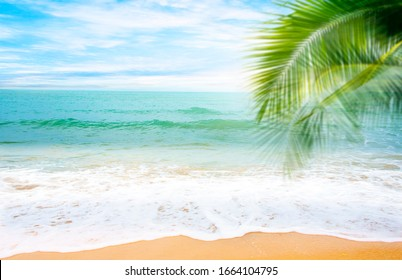 Wave & Sand beach background , holiday or relax in summer concept.