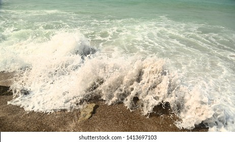 wave and sand in Persian gulf. Taken by canon 5D mark IV.