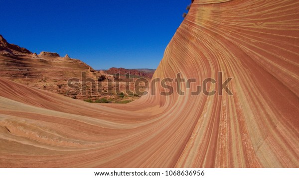 The Wave sandstone rock formation in Coyote Buttes, Paria Canyon-Vermillion Cliffs Wilderness in, northern Nevada.