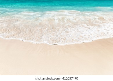 Wave of the sea on the sand beach in Punta Cana, Dominican Republic