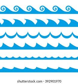 Cartoon Ocean Waves On Beach