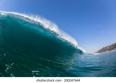 Wave Swimming Blue Crashing Water  Blue ocean sea wave swimming inside crashing hollow scenic power of nature