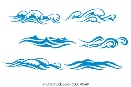 Wave symbols set for design isolated on white background, such logo. Vector version also available in gallery