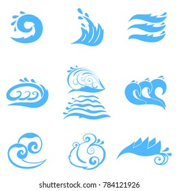 Wave symbols set for design isolated on white background, such emblem or logo template