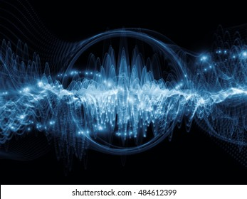 Wave Visualization series. Backdrop of sine oscillations and lights on the subject of signal and sound processing, modern technology, education and science