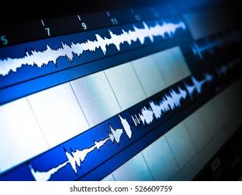 Waveforms of audio editor