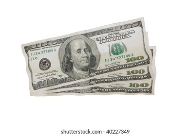 Wavering US Dollars One Hundred Dollar Bills isolated over a a white background.