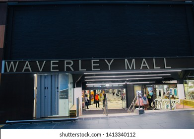 WAVERLEY MALL SHOPPING CENTRE MCDONALD'S AND SAINSBURY'S, EDINBURGH, SCOTLAND - 01 June 2019 Waverley Steps Entrance to the Waverley Mall with Shoppers and Tourists