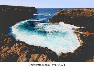 Waves along the Buracona lagoon, island of Sal, Cape Verde archipelago