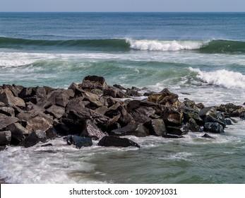 Waves along the shoreline in Ocean Grove along the Jersey shore.