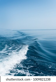 Waves behind a boat on a calm sea.  Vertical image.