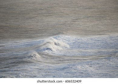 waves blown by the wind rushing towards the shore (out of shot)